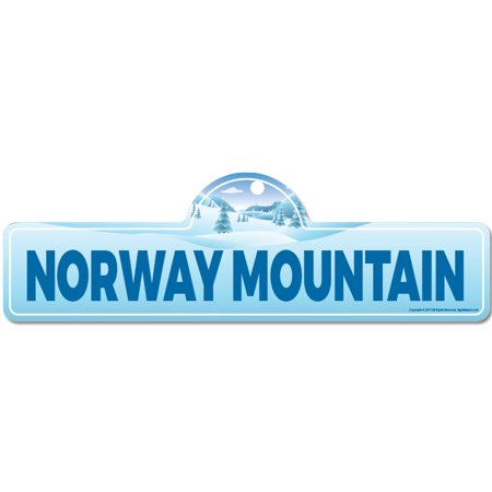 Norway Mountain Street Sign | Indoor/Outdoor | Skiing, Skier, Snowboarder, Décor for Ski Lodge, Cabin, Mountian House | SignMission personalized (Norwegian Fox)