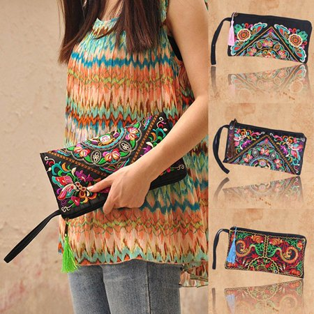 EFINNY Women Ethnic Handmade Embroidered Wristlet Clutch Bag Vintage Purse Wallet - Hand Embroidered Checkbook Wallet