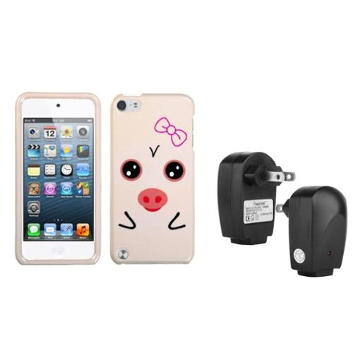 Insten Hungry Piggy Phone Cover�� Case For iPod Touch 6 6G 5 5G +USB AC Wall Charger