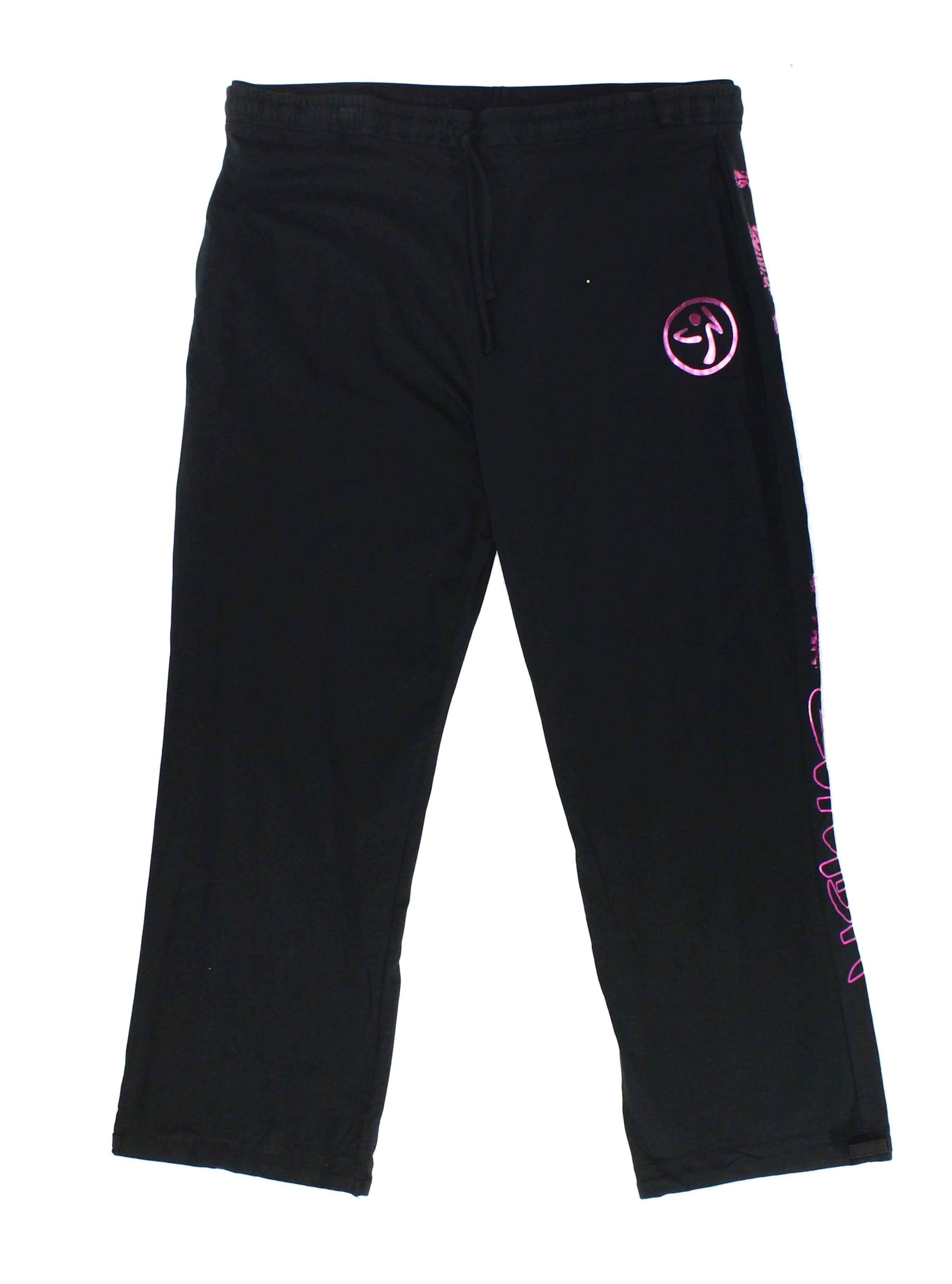 Zumba New Deep Black Womens Size 2XL Stretch Drawstring Printed Pants by Zumba