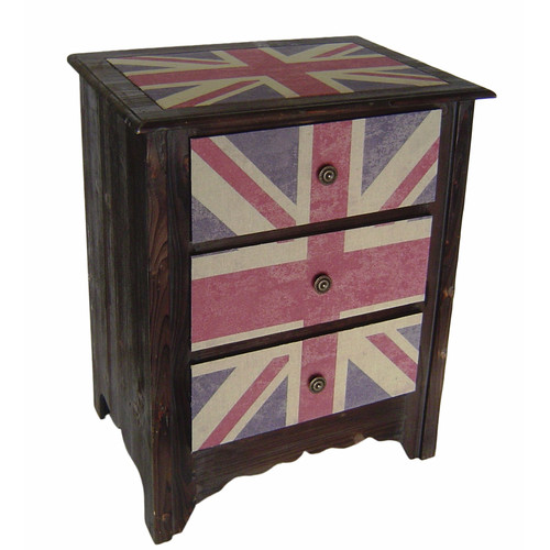 Cheungs Union Jack 3 Drawer Cabinet