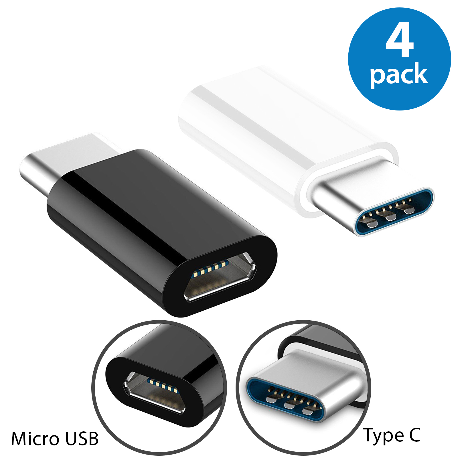 4x Afflux USB-C Adapter Connector USB Type C Male to Micro USB Female Adapter Charge Sync Converter For Samsung Galaxy S8+ Note 8 Nexus 5X 6P LG G5 G6 V20 HTC 10 Google Pixel XL OnePlus 3 5 White