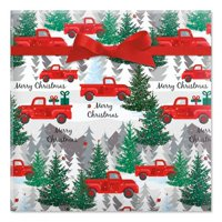 Red Truck Jumbo Rolled Gift Wrap - 1 Giant Roll, 23 Inches Wide by 35 feet Long, Heavyweight, Tear-Resistant, Holiday Wrapping Paper