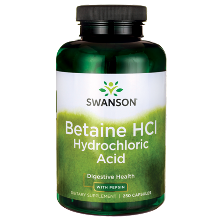 Swanson Betaine Hcl Hydrochloric Acid with Pepsin 250 Caps