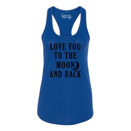 Love You To The Moon Womens  Racerback Tank (Dark Side Of The Moon Tank Top)