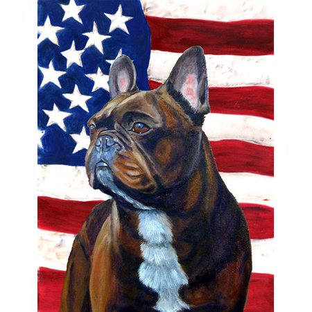 Caroline's Treasures USA American Flag with French Bulldog House Vertical Flag