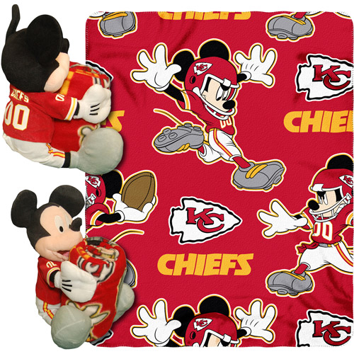 "Disney NFL Hugger Pillow and 40"" x 50"" Throw Set, Kansas City Chiefs"