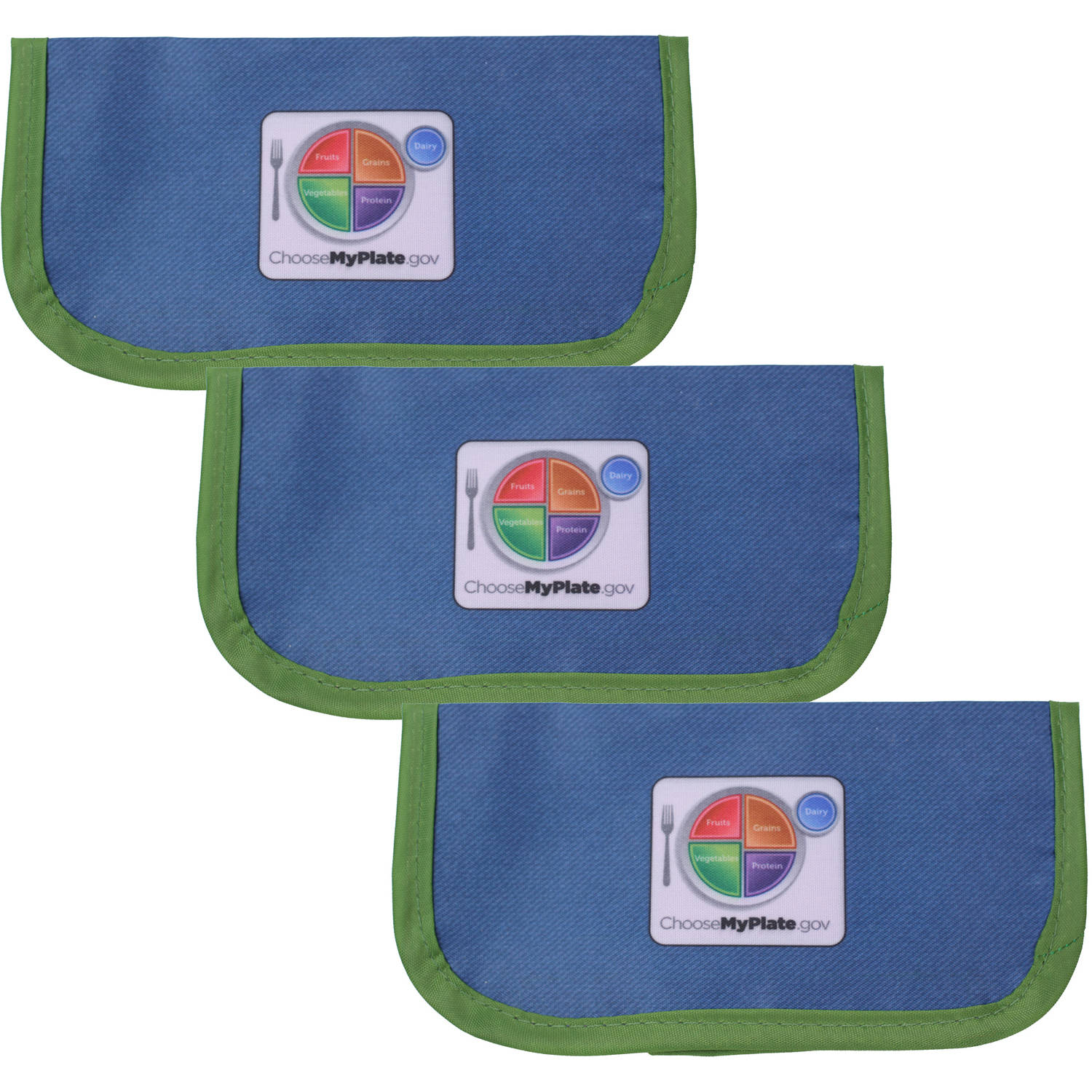 Fresh Baby MyPlate Reusable Snack Bag, 3-Pack by