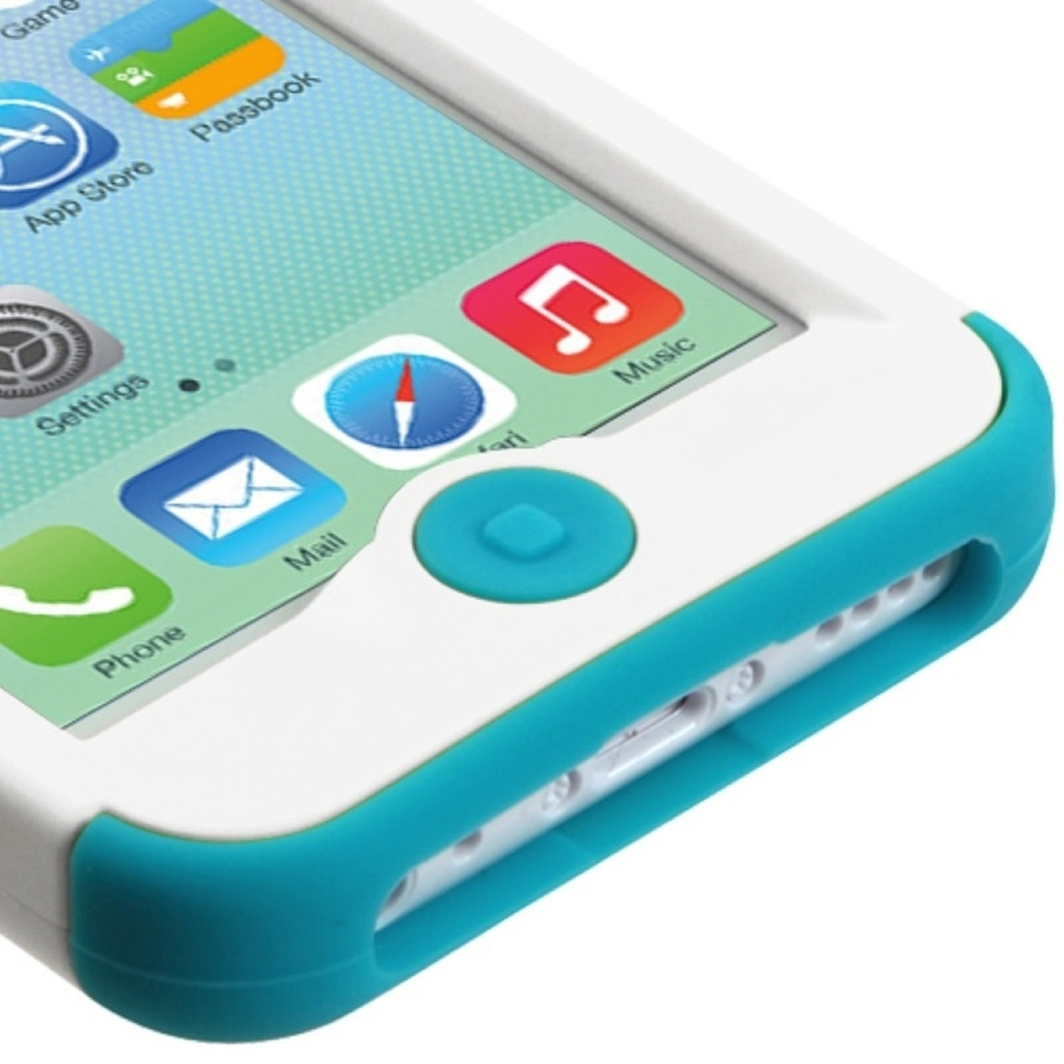 Insten White/Tropical Teal TUFF Hybrid Phone Hard Skin Case Cover For Apple iPhone 5C
