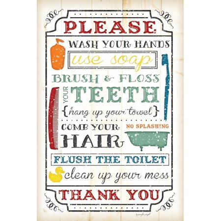 Bathroom Rules Print Wall Art By Jennifer