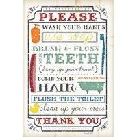 Bathroom Rules Print Wall Art By Jennifer Pugh