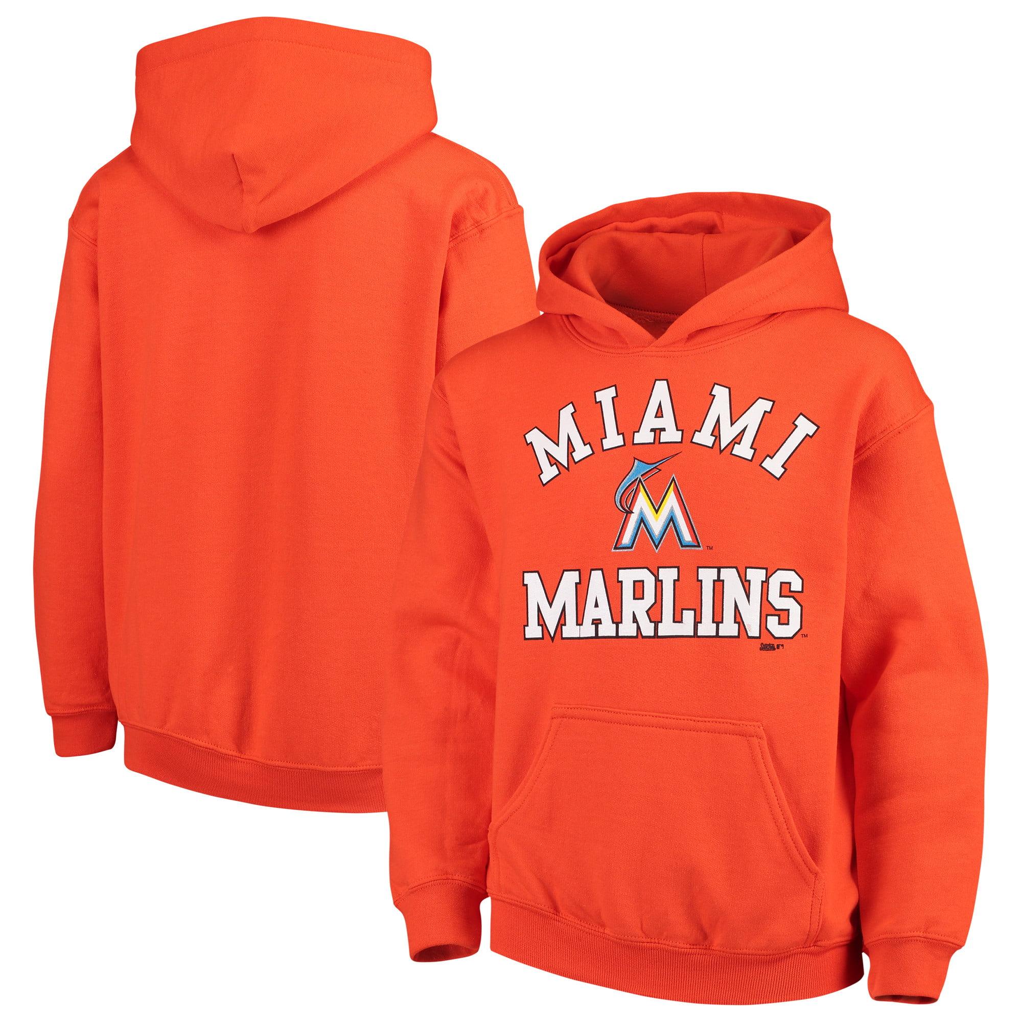 Miami Marlins Stitches Youth Fleece Pullover Hoodie - Orange
