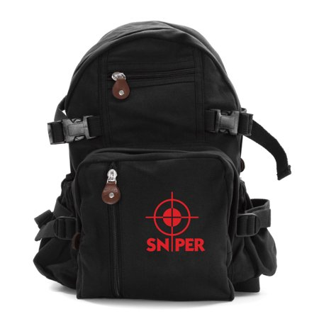 Snipers Scope Army Sport Heavyweight Canvas Backpack (Best Sniper Drag Bag)