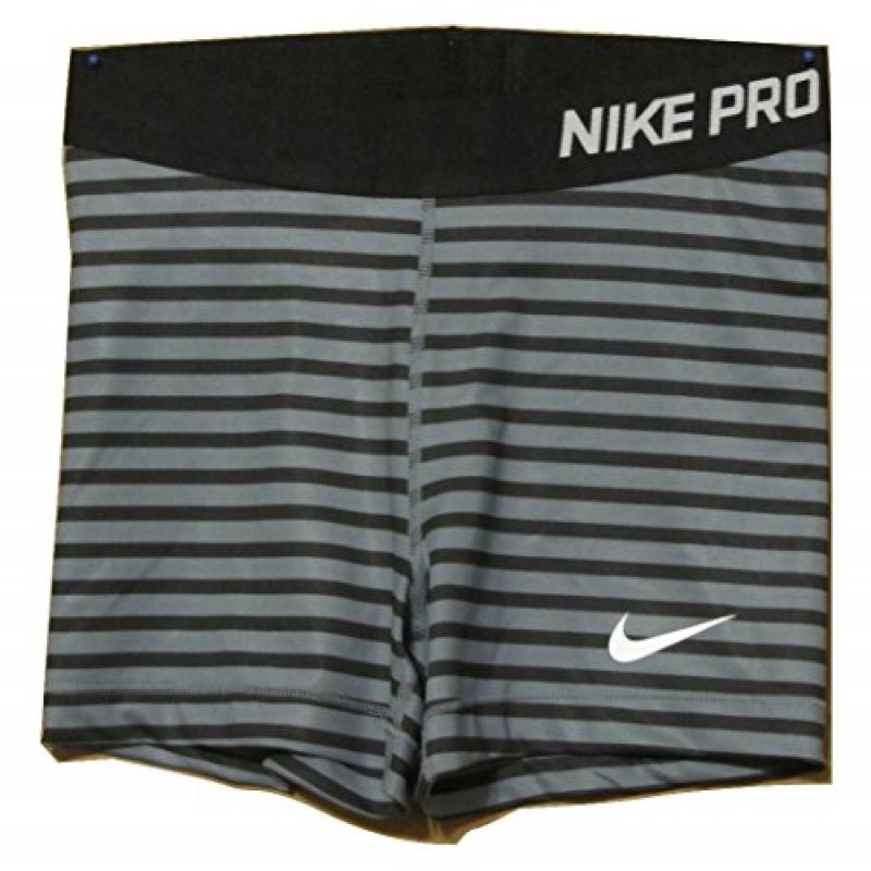 "Nike Pro Womens 3"" Striped Compression Shorts Black/gray ..."