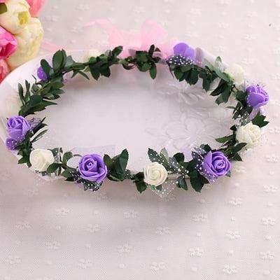 Bridal Wreath Flower Headband Crown Hair Band Floral Crown Garland with Snow Yarn for Festival Wedding Beach - White + Purple](Flower Crowns Diy)