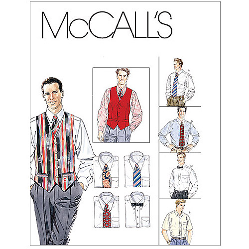 McCall's Pattern Men's Lined Vest, Shirt, Tie in 2 Lengths and Bow Tie, Y (S, M, L)