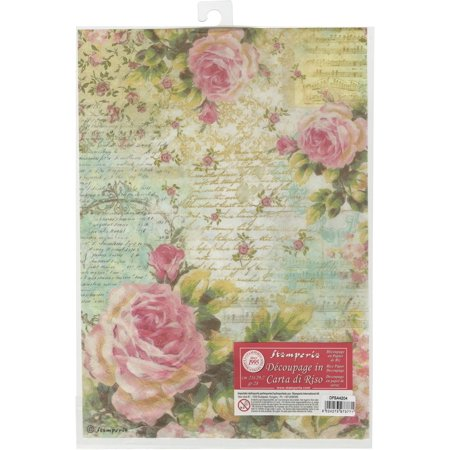 Stamperia Rice Paper Sheet A4-Rose & Writings