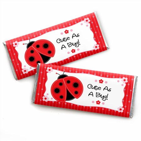 Modern Ladybug - Candy Bar Wrappers Party Favors - Set of 24 - Bug Shaped Candy