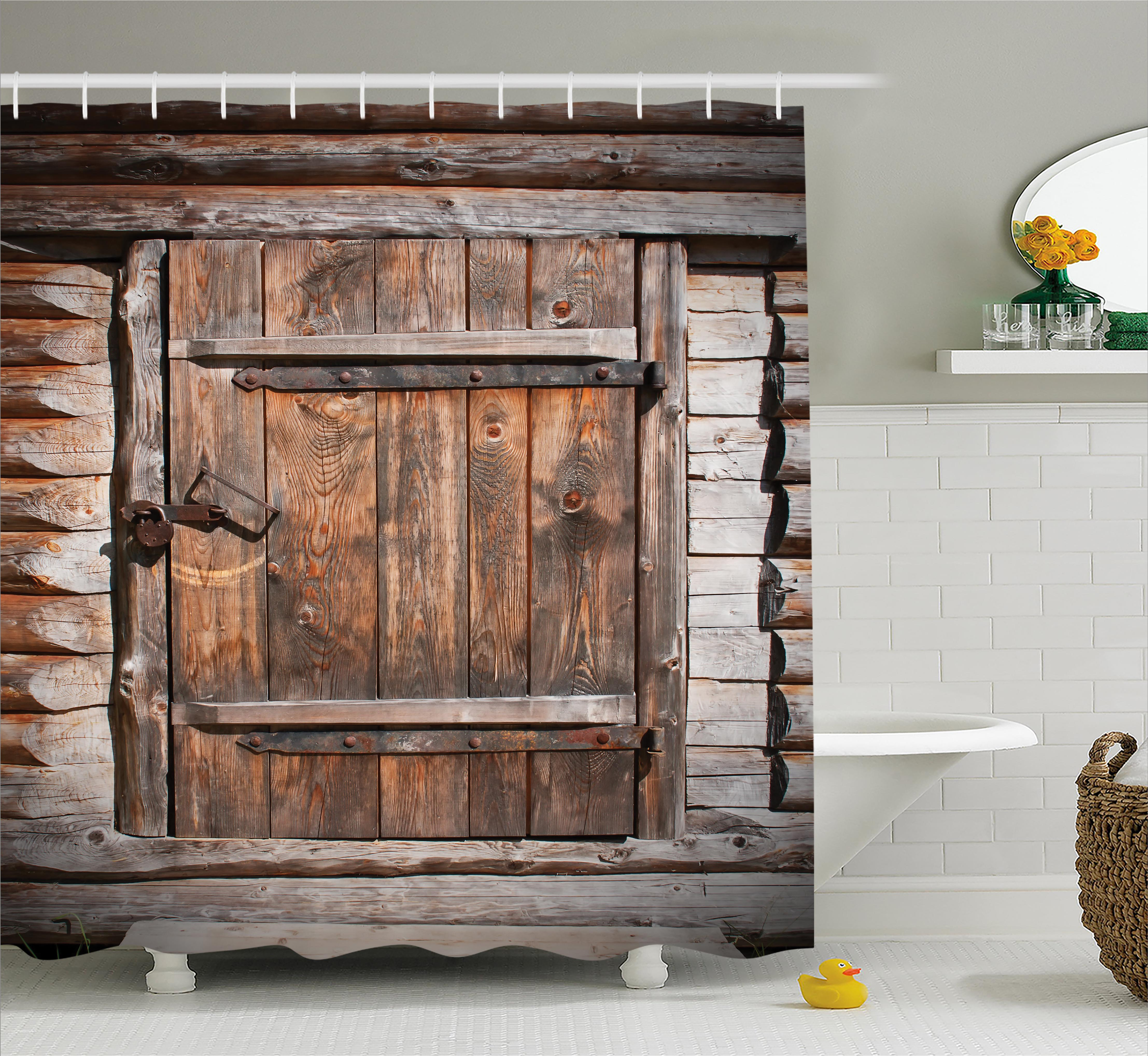 Vintage Shower Curtain, Rustic Wooden Door of Old Barn in Farmhouse Countryside Village Aged Rural Life Image, Fabric Bathroom Set with Hooks, 69W X 75L Inches Long, Brown, by Ambesonne