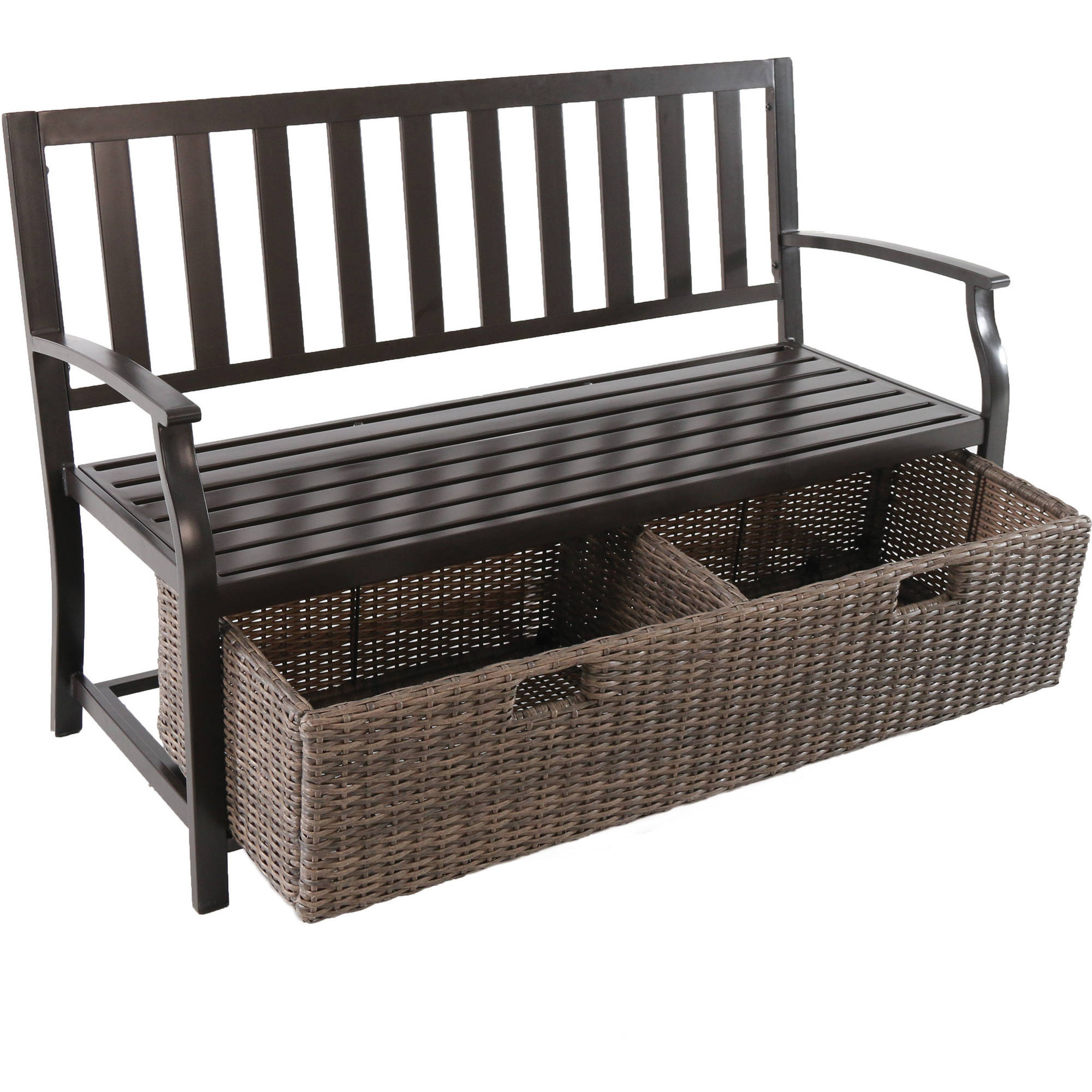 Better Homes U0026 Gardens Camrose Farmhouse Outdoor Bench With Wicker Storage  Box   Walmart.com