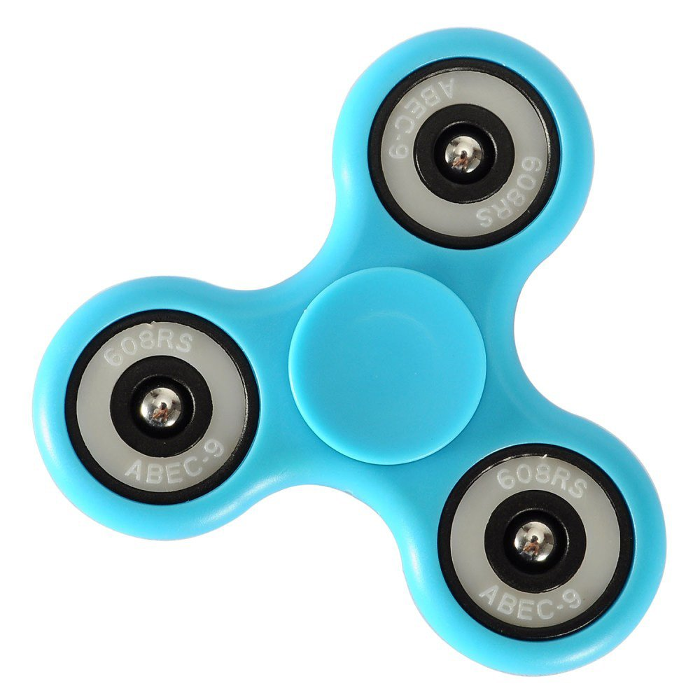 Fidget Spinner Glow in Dark Tri-Spinner Focus Toys ABS Finger Ball Desk Toys Stocking Stuffer Anxiety Relief Toys Great Gift for Kids Adult - Blue
