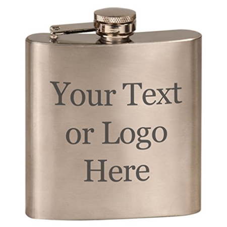 Customized 3D Laser Engraved Personalized 6 oz. Stainless Steel Custom Flask (Steel - Customized Flasks