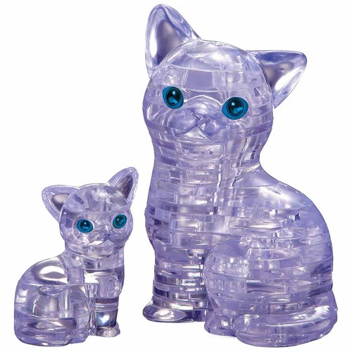 3D Crystal Puzzle, Cat with Kitten by BePuzzled