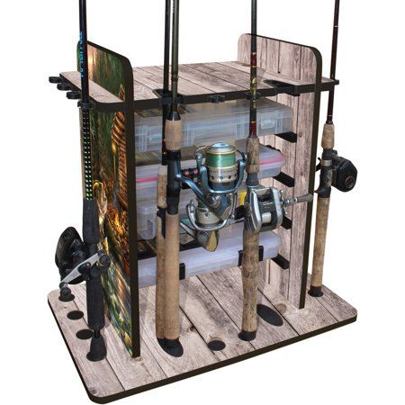 - Rush Creek Creations Bass 14 Fishing Rod Rack with 4 Bait Bin Storage