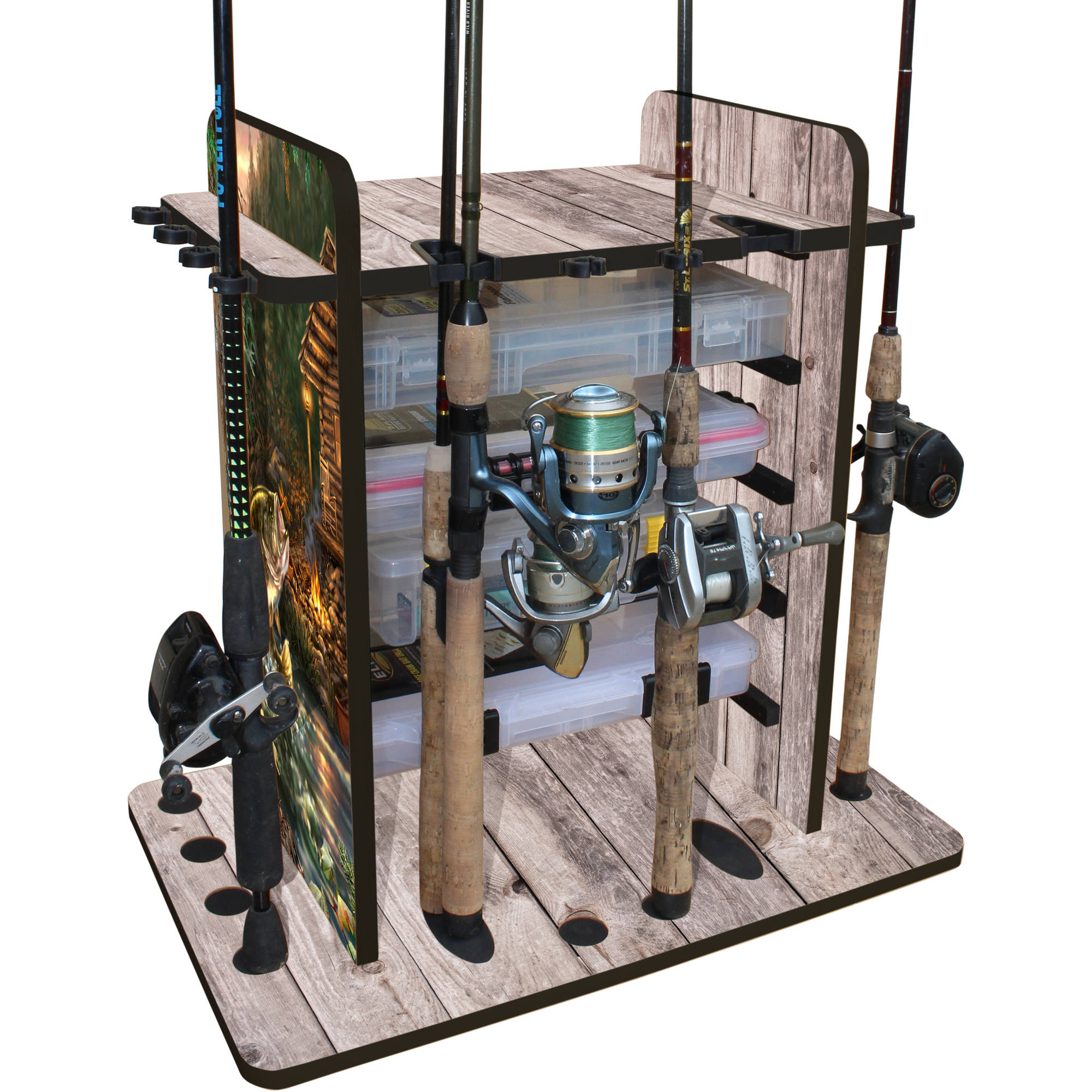 Rush Creek Creations Bass 14 Fishing Rod Rack with 4 Bait Bin Storage