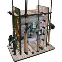 Rush Creek Creations Bass 14 Fishing Rod Rack with 4 Bait Bin Storage