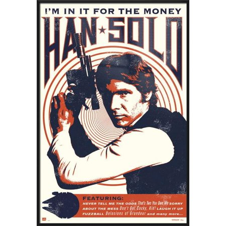 Star Wars - Framed Movie Poster / Print (Han Solo - Retro / Vintage Style - Quotes) (Size: 24
