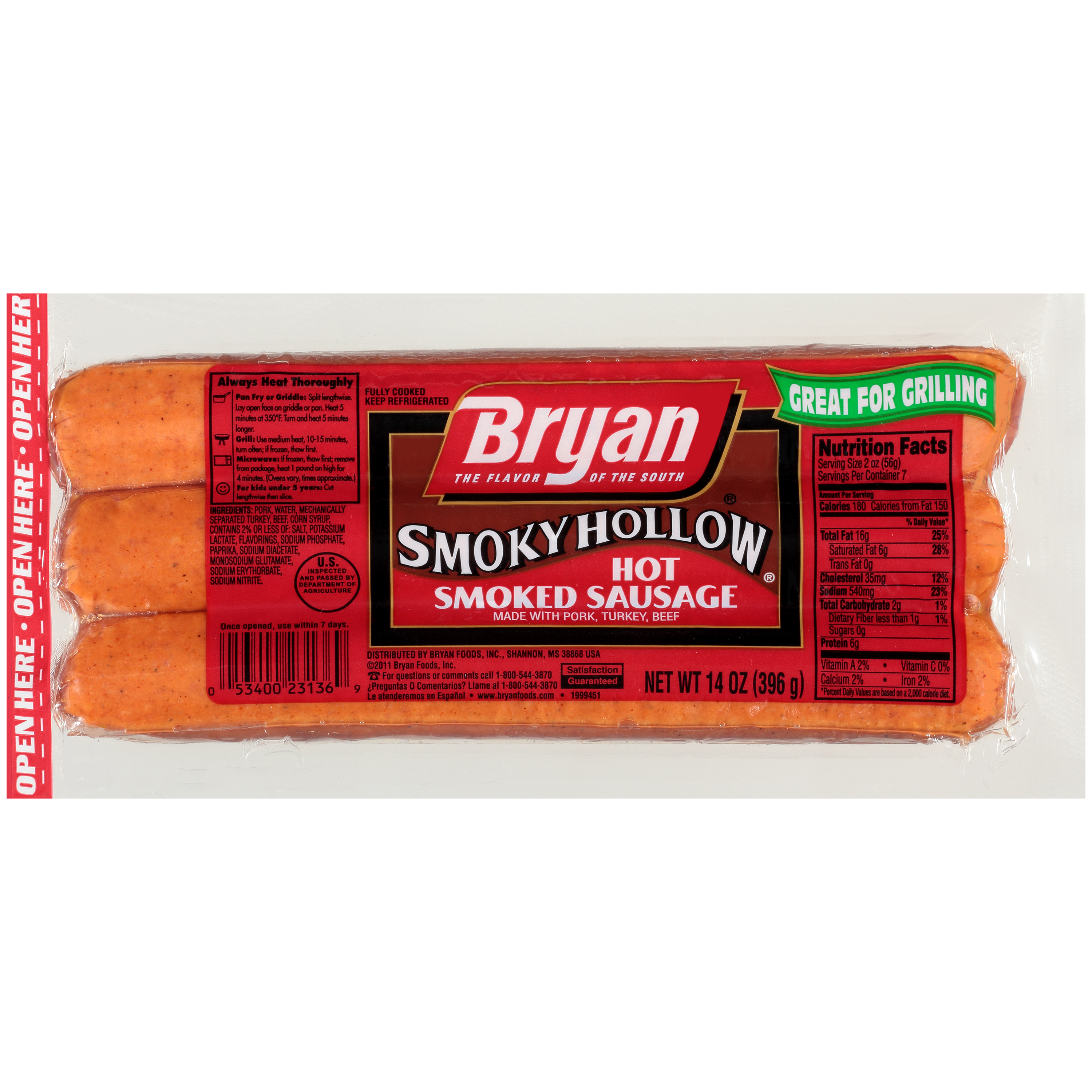 Bryan Hot Smoked Sausage Link, 14 oz