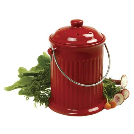 Kitchen Compost Bin - Norpro 1 gal Red Ceramic Compost Keeper Crock