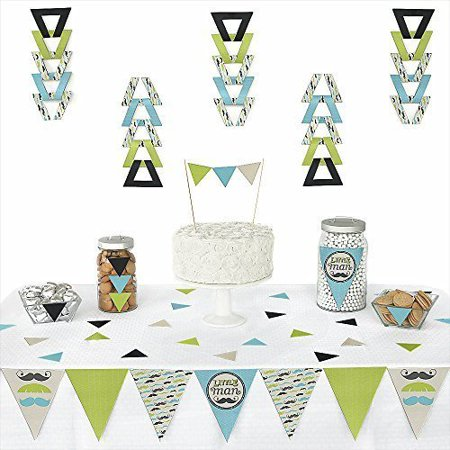 Dashing Little Man Mustache -Triangle Party Decoration Kit - 72 Pieces