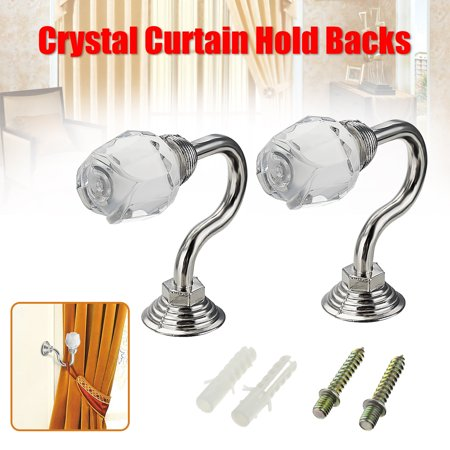 2PCS Round Silver Glass Crystal Curtain Tie Back Wall Hooks Wall Mounted