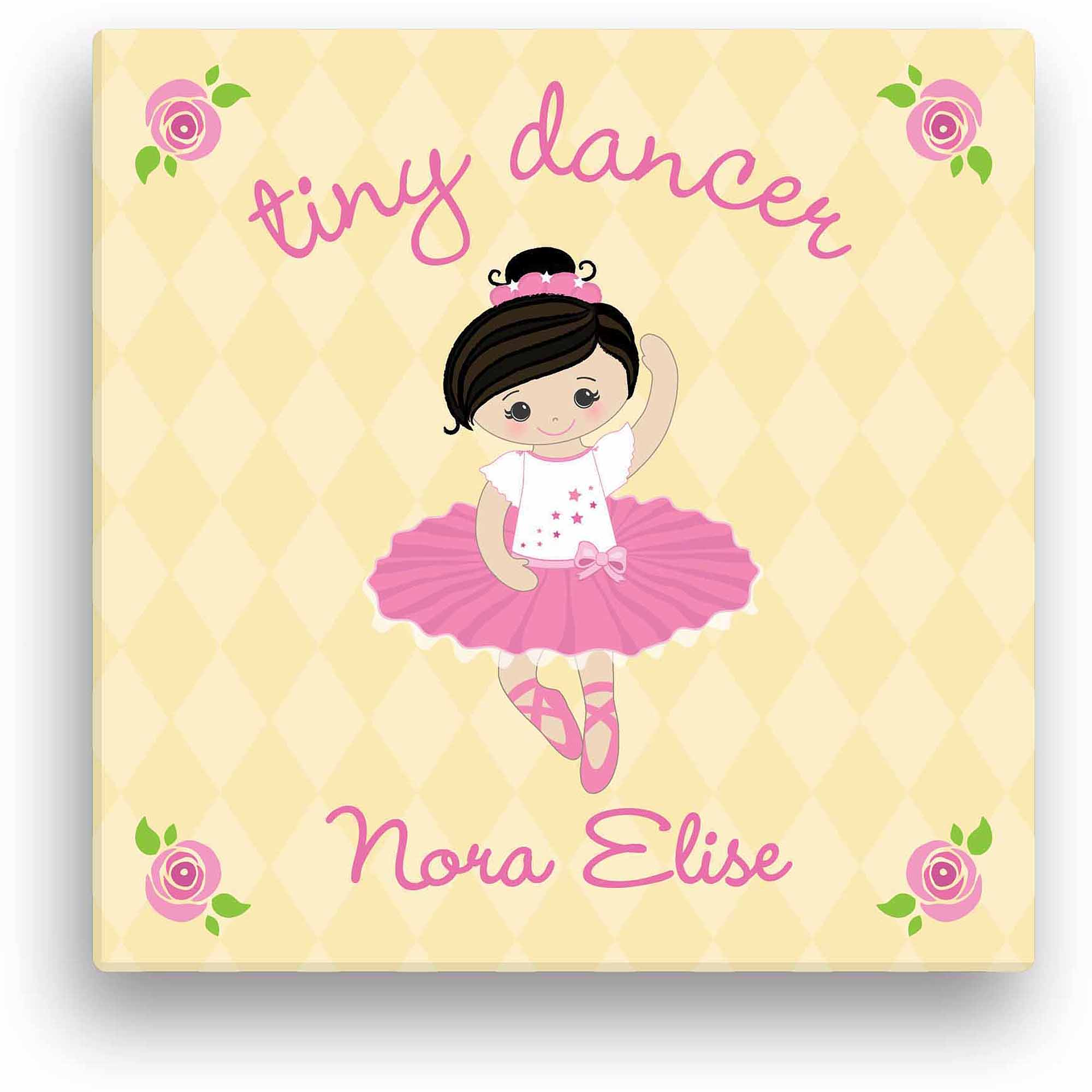 "Tiny Dancer 12"" x 12"" Personalized Canvas, Black Hair"