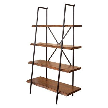 Alpine Furniture Live Edge 4 Shelf Bookshelf