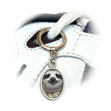 Sloth Face Oval Shoe Charm