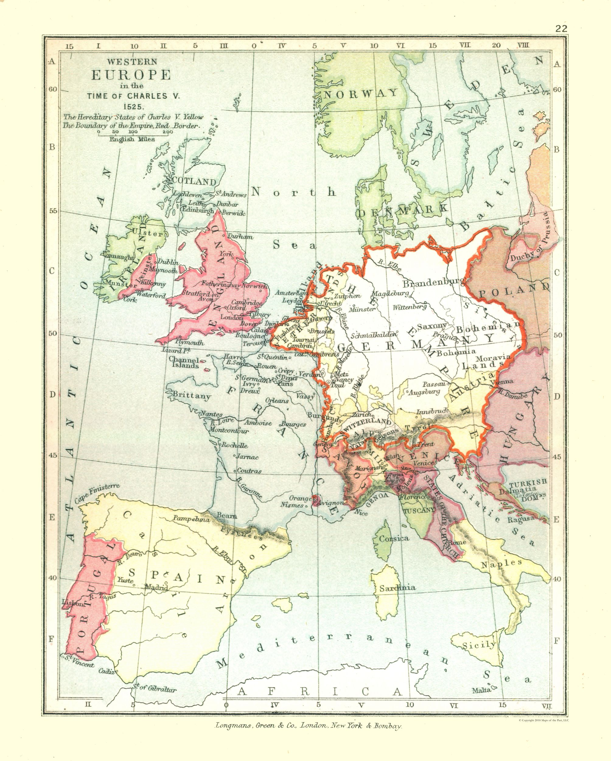 Old Europe Map Western Europe In 1525 Gardiner 1902 23 X 28 64