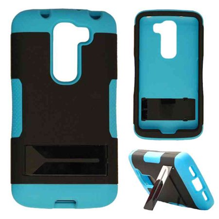 Hopper Protector Case for LG G2 Mini (Black Skin and Fluorescent Pearl Blue  Snap