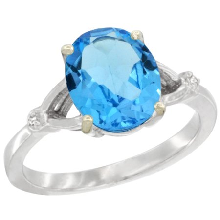 Natural Oval Swiss (14K White Gold Diamond Natural Swiss Blue Topaz Ring Oval 10x8mm, sizes)