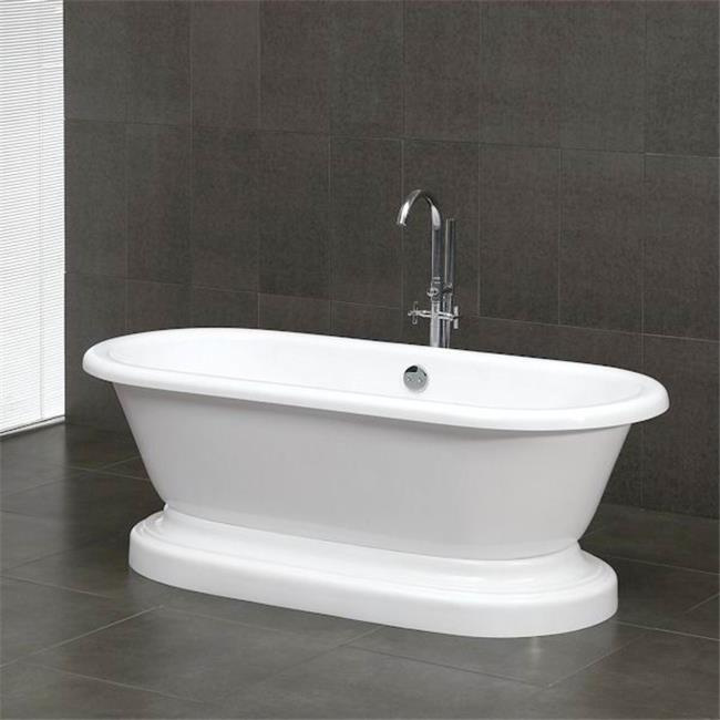 Inc  Acrylic Double Ended Pedestal Bathtub 70 x 30 in. with no Faucet Drillings and Complete Brushed Nickel Plumbing Package