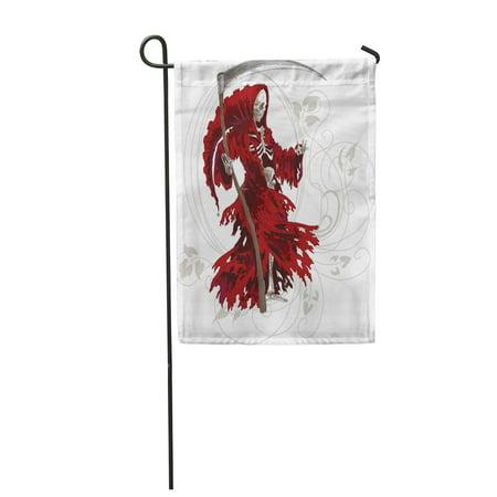 Grim Reaper Cloak Pattern (SIDONKU Horror Grim Reaper in Red Cloak Scythe Death Fear Apocalypse Garden Flag Decorative Flag House Banner 12x18)