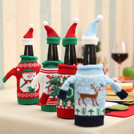 Directer Christmas Snowman Elk Wine Bottle Sweater Cover Bag Cap Dinner Party Table Decor