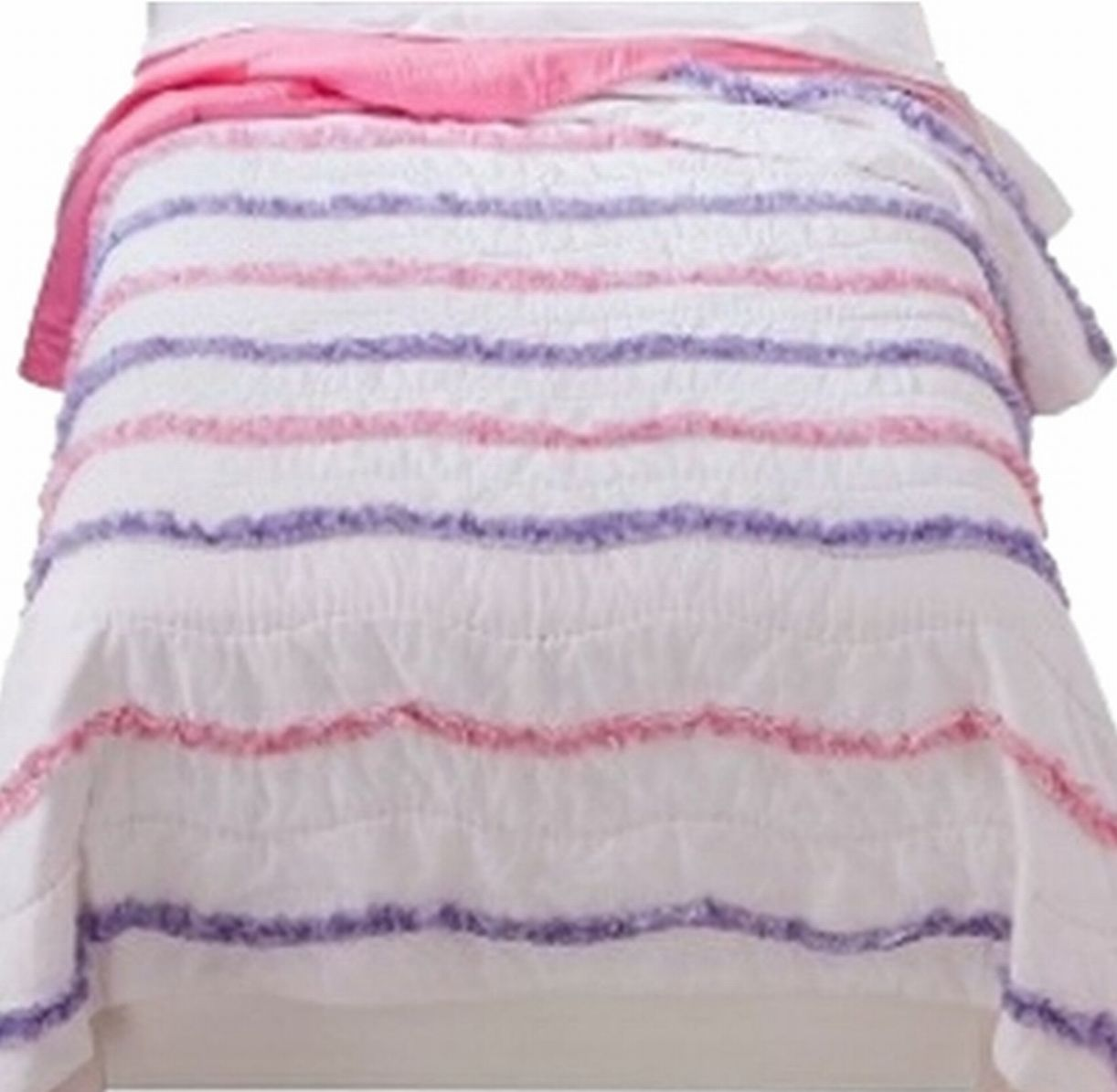 Girls Ruffle Wave Stitched Full Queen Bed Quilt Pretty Comforter