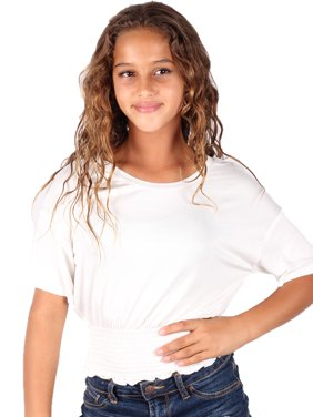 a12b183f50e Product Image Lori & Jane Girls White Solid Color Elastic Top