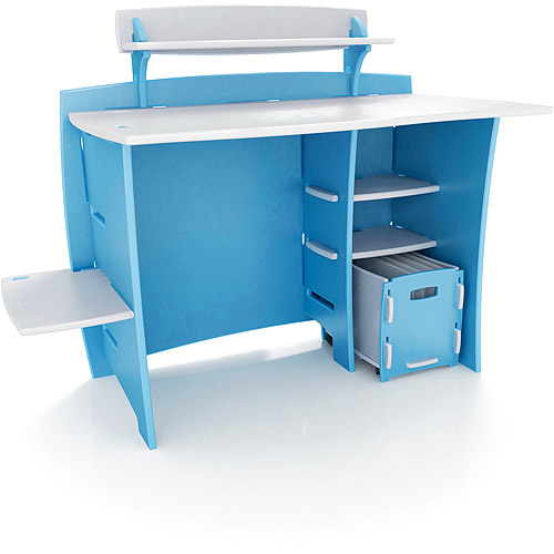 No Tools Assembly - Desk, Blue and White