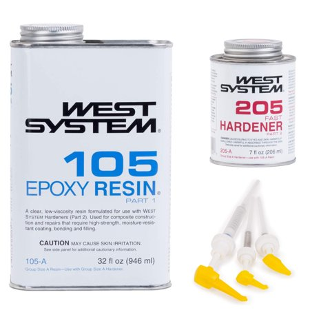 60 Sec Epoxy (West System 105 Epoxy Resin with 205 Fast Epoxy Hardener and 300 Mini Pumps)