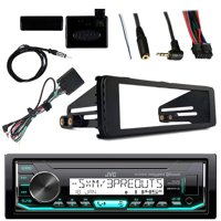 JVC KDX35MBS Marine Radio Stereo Bluetooth Receiver Bundle With Metra Adapter Install Dash Kit, Handle Bar Control, Enrock Wire Antenna For 1998-13 Harley Davidson Motorcycle Touring Flht Flhx Flhtc