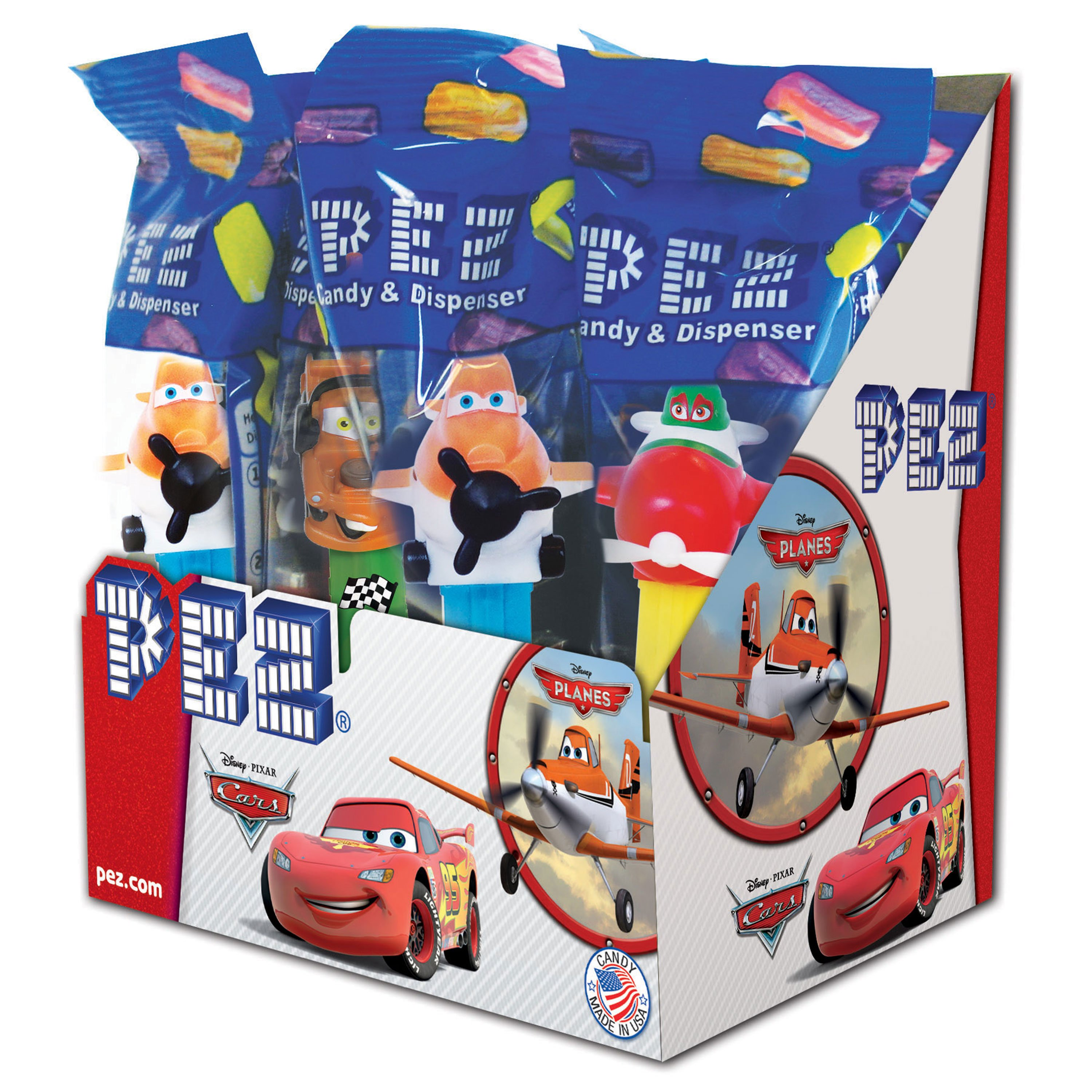 PEZ Candy Disney Cars/Planes Assortment, candy dispenser plus 2 rolls of assorted fruit candy, box of 12